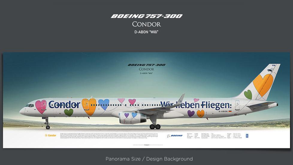Boeing 757-300 Condor, plane prints, retired pilot gift, aviation posters for sale, jetliner prints, boeing 757 poster