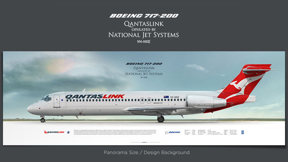Boeing 717-200 QantasLink, gifts for pilots, aviation prints, aircraft posters, custom posters, retired pilot