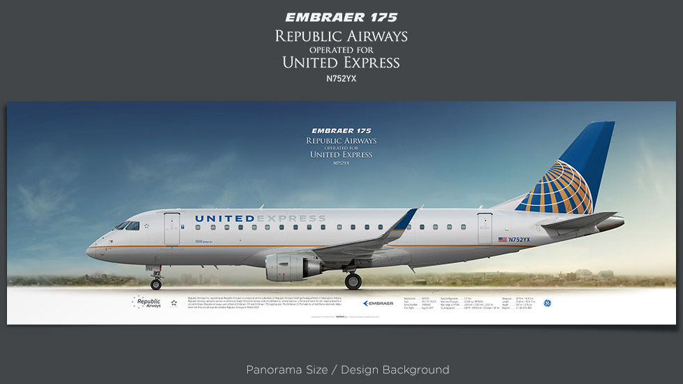 Embraer 175 Republic Airways, United Express, plane prints, retired pilot gift, aviation posters, airliners prints, jetliner