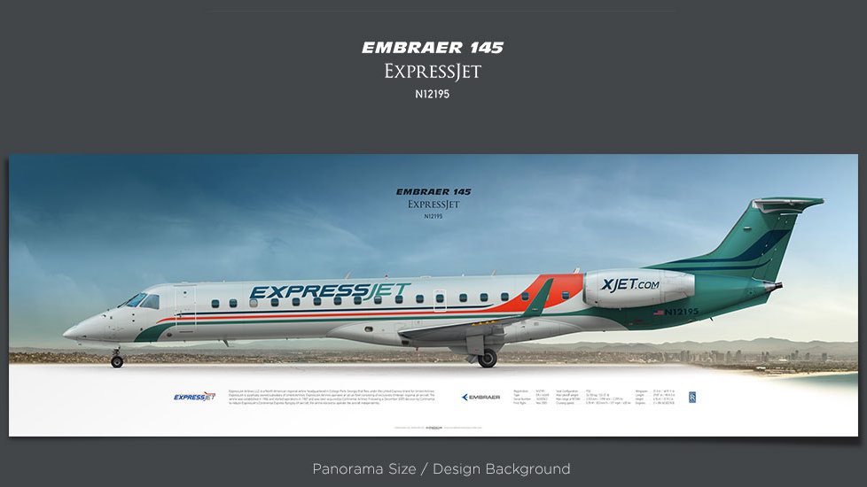 Embraer 145 ExpressJet, plane prints, retired pilot gift, aviation posters, airliners prints, regional aircraft print, ASQ