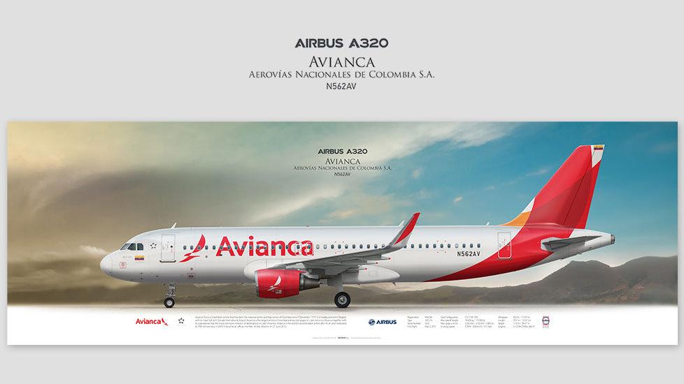 Airbus A320 Avianca, posterjetavia, gifts for pilots, aviation, airliner, pilotlife, aviationdaily, aviationart