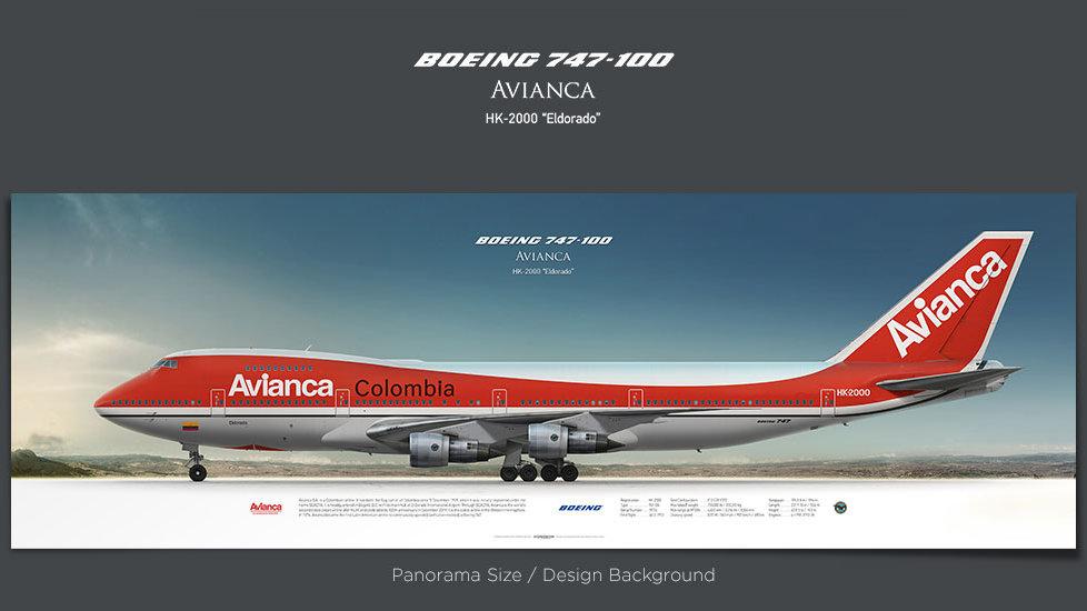 Boeing 747-100 Avianca, plane prints, airplane poster, retired pilot gift, airline prints, jambojet prints, jetliner poster