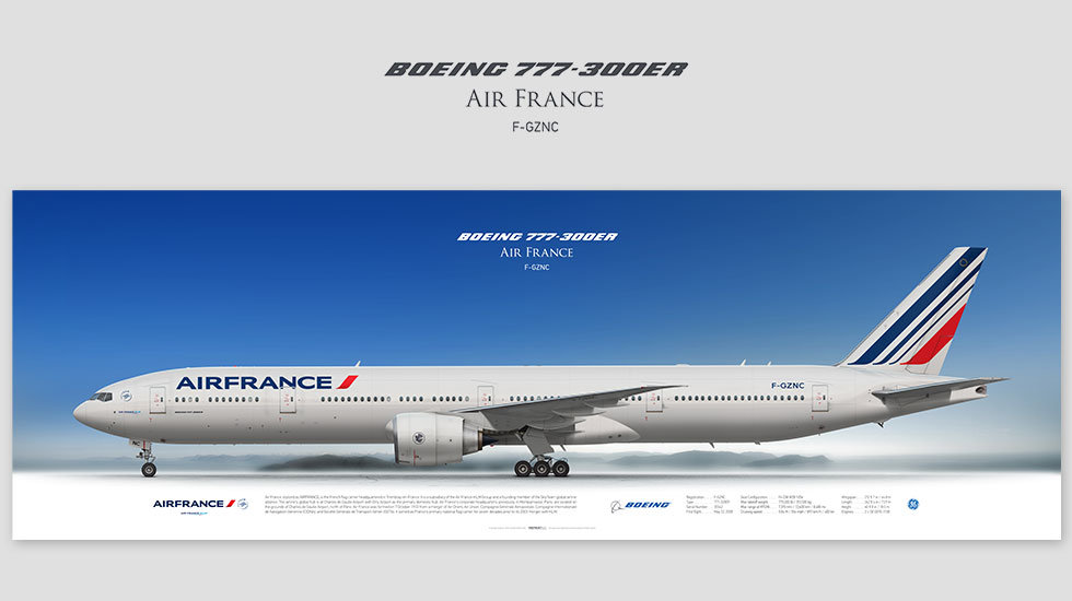 Boeing 777-300ER Air France, posterjetavia, profile prints, gift for pilots, aviation, b777