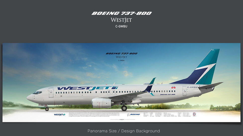 Boeing 737-800 WestJet, plane prints, retired pilot gift, aviation posters, airliners prints, civil aircraft print, WJA