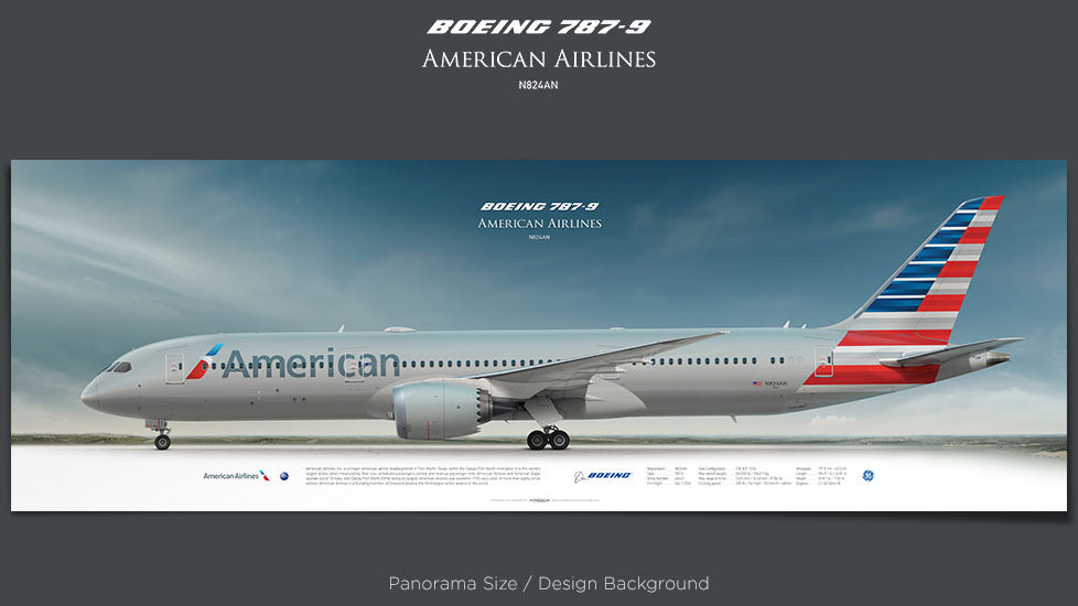 Boeing 787-9 American Airlines, plane prints, retired pilot gift, aviation posters, airliners prints, dreamliner