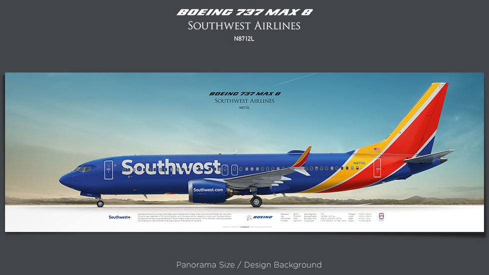 Boeing 737 MAX 8 Southwest Airlines, plane prints, retired pilot gift, aviation posters, airliners prints, airliner profiles