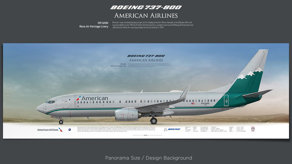Boeing 737-800 American Airlines, plane prints, retired pilot gift, aviation posters, airliners prints, Heritage Livery