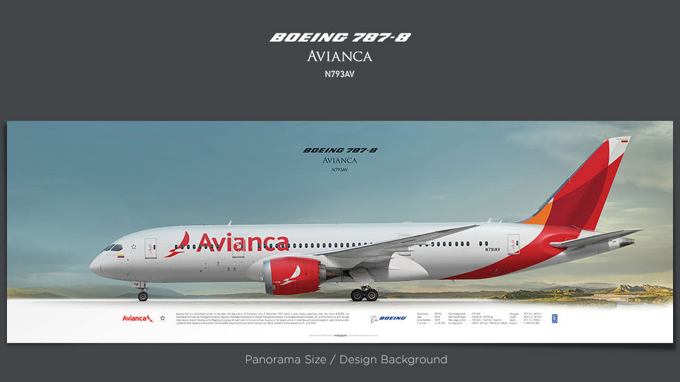 Boeing 787-8 Avianca, gifts for pilots, aviation prints, aircraft posters, custom posters, retired pilot, dreamliner