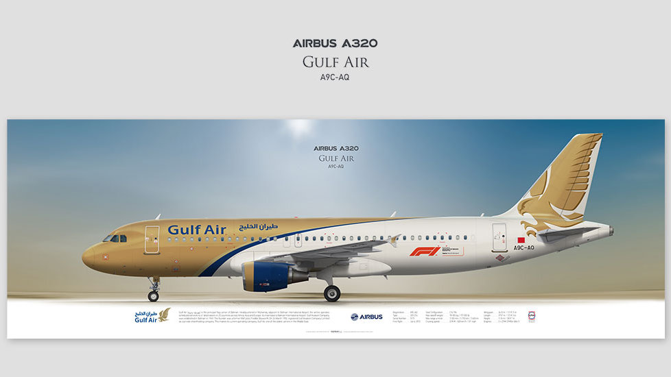 Airbus A320 Gulf Air, posterjetavia, airliners profile prints, gift for pilots