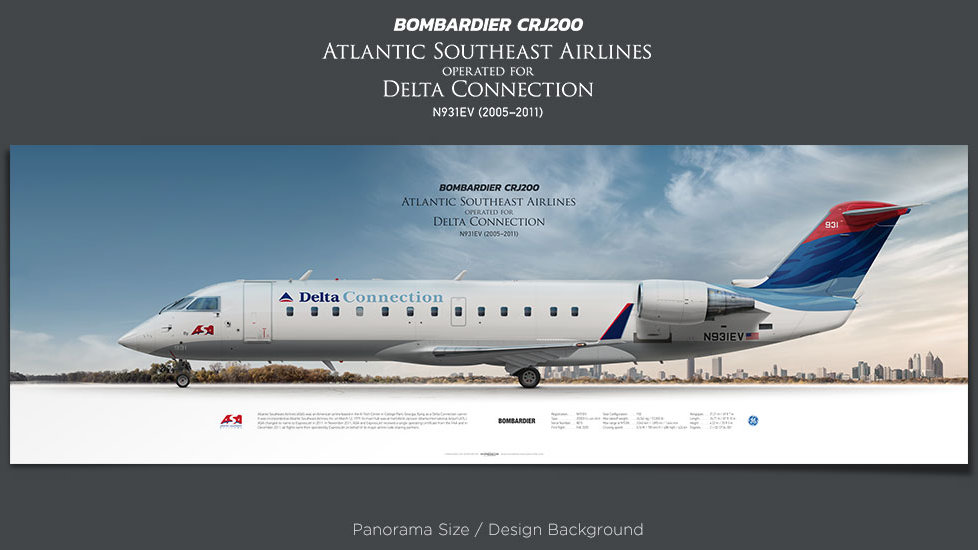 Bombardier CRJ200 Atlantic Southeast Airlines, Delta Connection, plane prints, retired pilot gift, aviation posters, jetliner