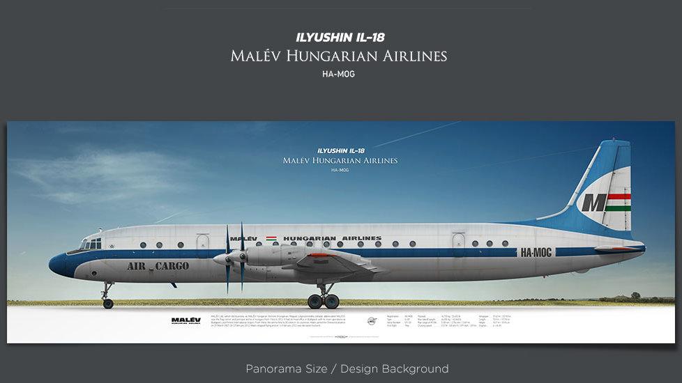 Ilyushin Il-18 Malév, plane prints, retired pilot gift, aviation posters, turboprop, vintage aircraft, cargo airplane, MOH