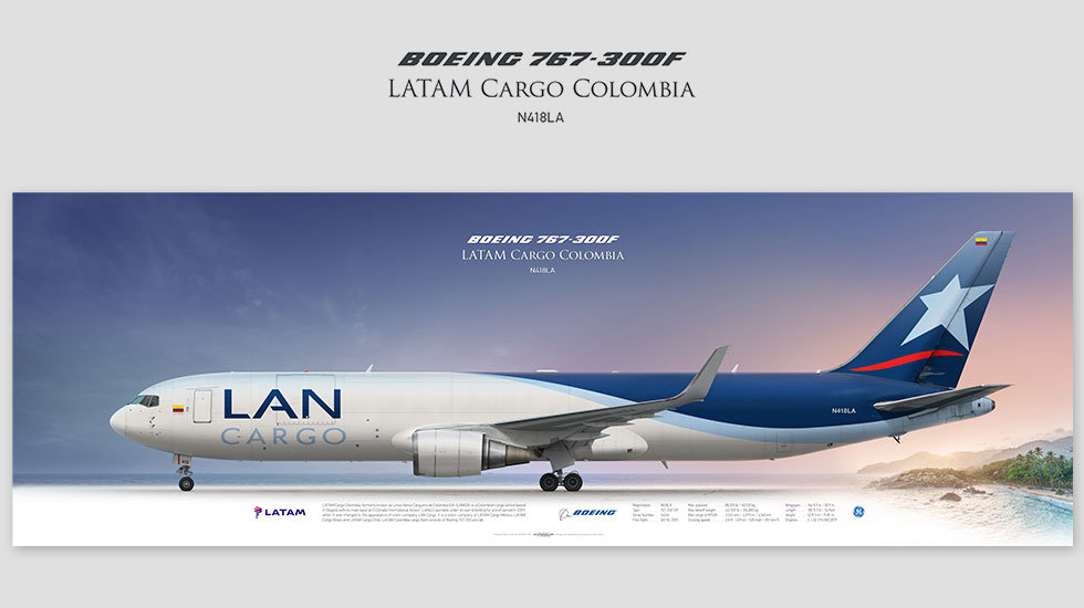 Boeing 767-300F LATAM Cargo, gift for pilots, aviation art prints, aircraft print, custom posters, plane picture