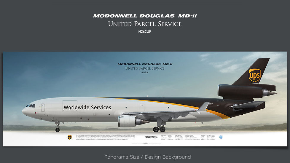 McDonnell Douglas MD-11F UPS Airlines, plane prints, retired pilot gift, aviation posters for sale, cargo plane prints