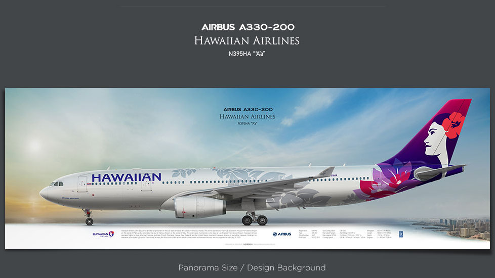Airbus A330-200 Hawaiian Airlines, plane prints, retired pilot gift, aviation posters, airliners prints, civil aircraft, HAL