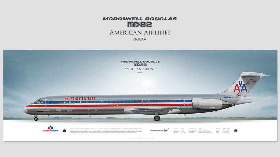 McDonnell Douglas MD-82 American Airlines, posterjetavia, airliners profile prints, aviation collectibles prints