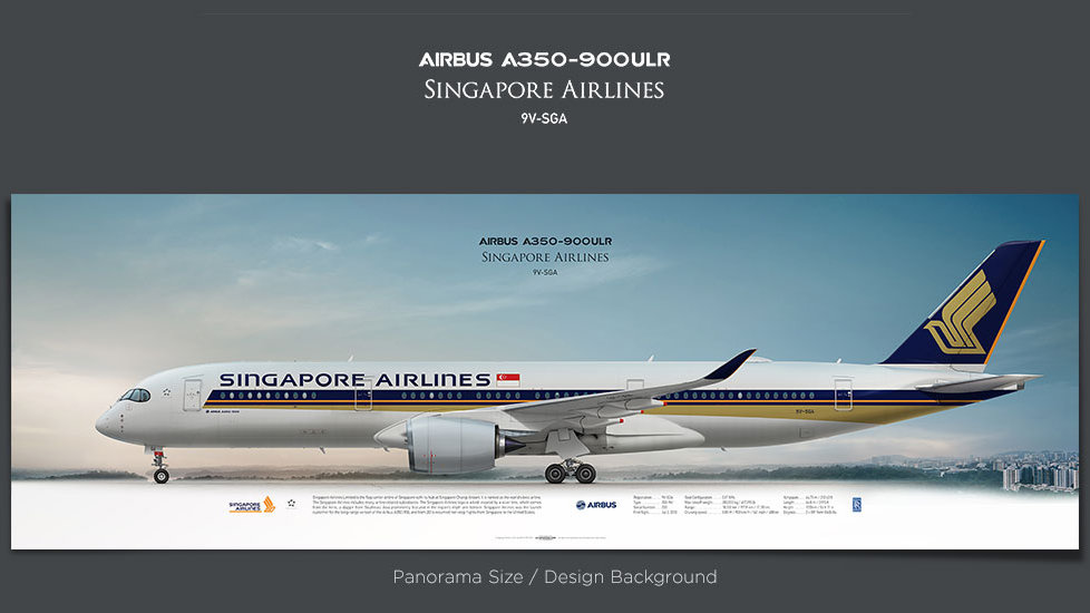 Airbus A350-900ULR Singapore Airlines, gifts for pilots, aviation prints, aircraft posters, custom posters, retired pilot