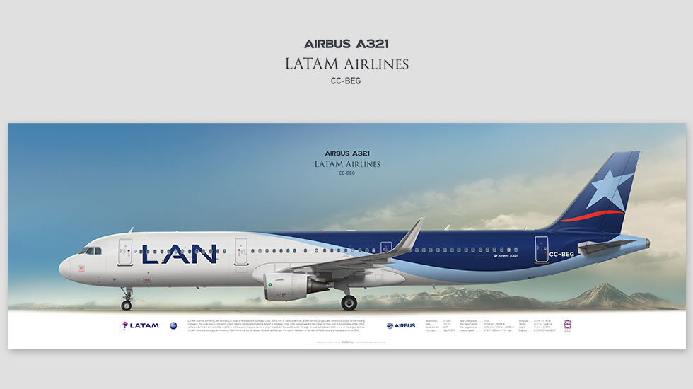 Airbus A321 LATAM Airlines, posterjetavia, profile prints, gift for pilots, aviation, airplane picture, airline, lanchilie