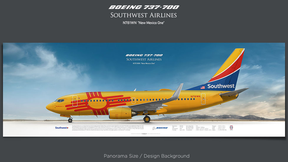 Boeing 737-700 Southwest Airlines, New Mexico One, , plane prints, retired pilot gift, aviation posters, airliners prints