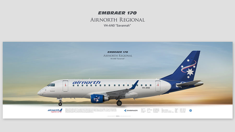 Embraer 170 Airnorth Regional, posterjetavia, profile prints, gift for pilots, aviation, airplane picture, airline