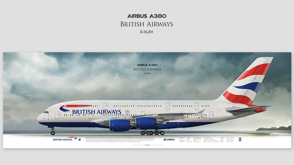 Airbus A380 British Airways, gift for pilots, aviation prints, aviaposter, aircraft profile art prints, speedbird, superjumbo