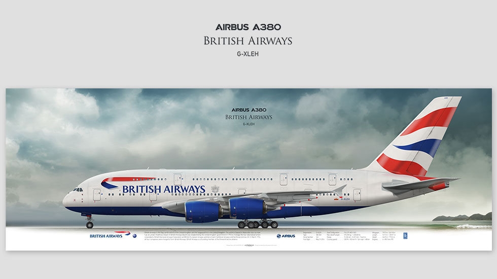 Airbus A380 British Airways, gift for pilots, aviation prints, aviaposter, aircraft profile art prints, speedbird, superjumbo