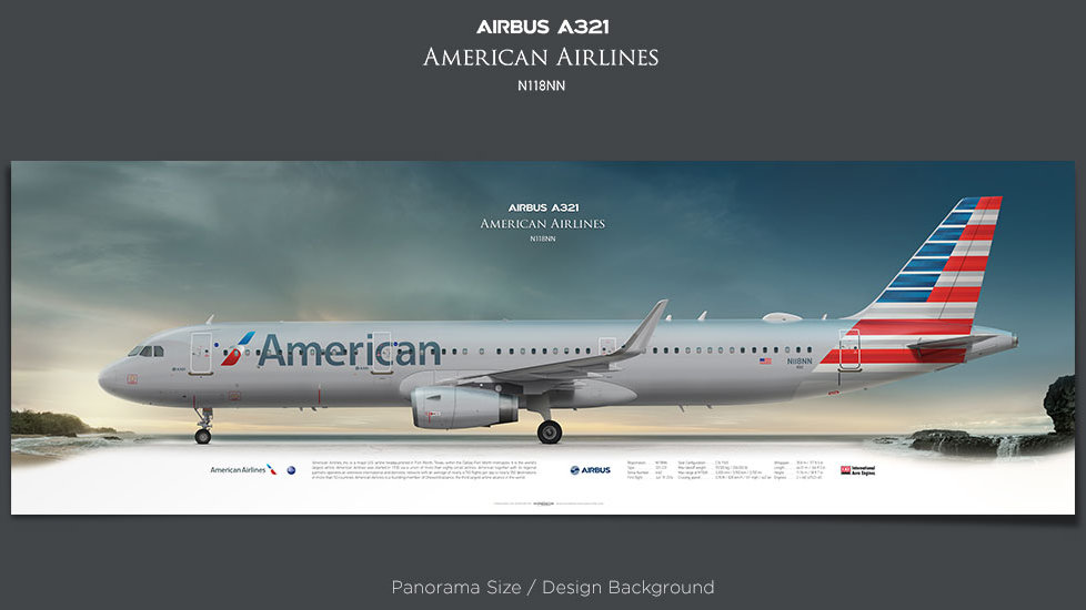 Airbus A321 American Airlines, plane prints, retired pilot gift, aviation posters, airliners prints, airliner profiles, AAL