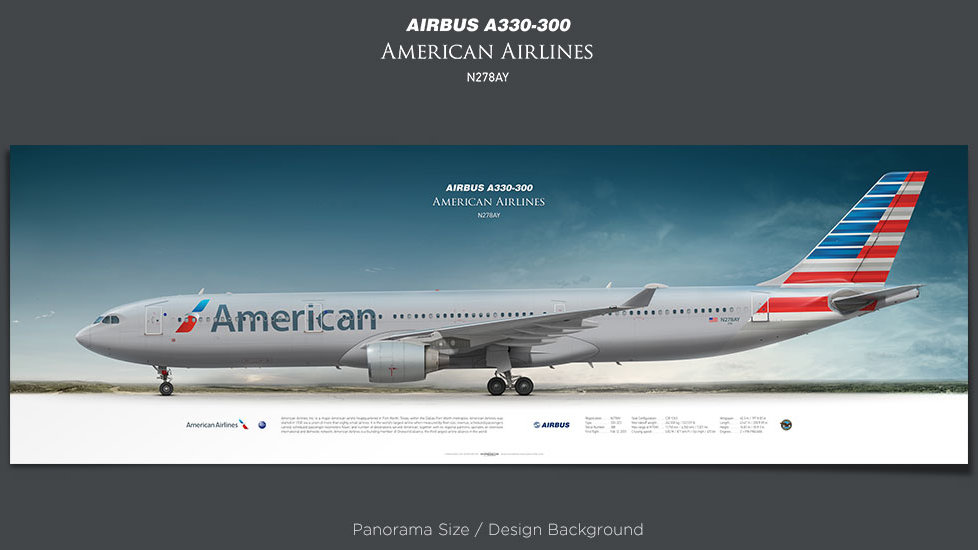 Airbus A330-300 American Airlines, plane prints, retired pilot gift, aviation posters, airliners prints, aircraft print, AAL
