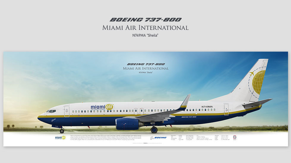 Boeing 737-800 Miami Air International, posterjetavia, airliners profile prints, aviation collectibles prints