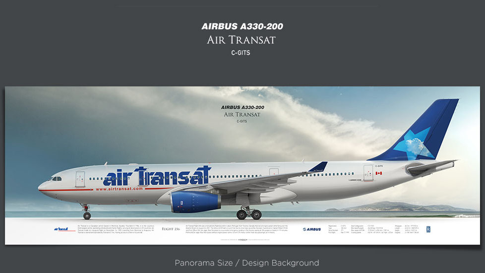 Airbus A330-200 Air Transat, plane prints, retired pilot gift, aviation posters, jetliner, airliners prints, TSC