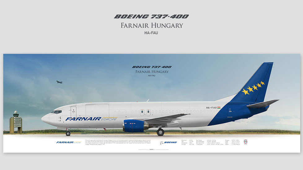 Boeing 737-400 Farnair Hungary, posterjetavia, profile prints, gift for pilots, aviation, airplane picture, airline