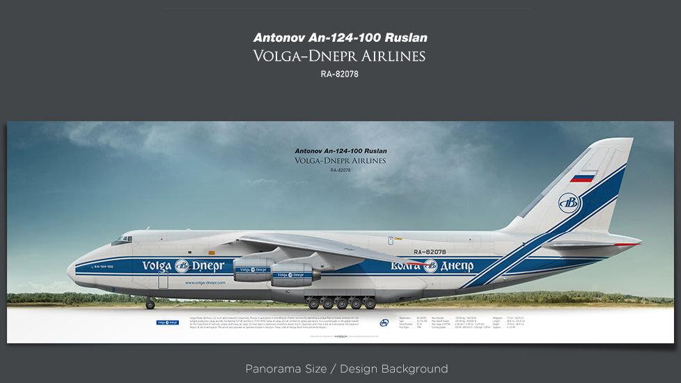 Antonov An-124 Volga-Dnepr Airlines, plane prints, retired pilot gift, aviation posters, airliners prints, cargo plane, VDA