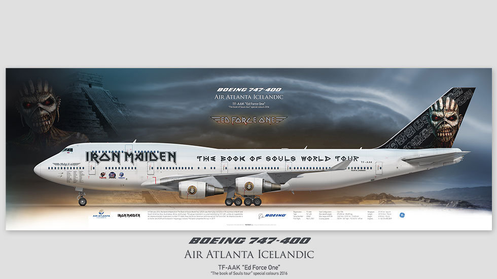 Boeing 747-400, EdForceOne, , posterjetavia, airliners profile prints, aviation collectibles prints