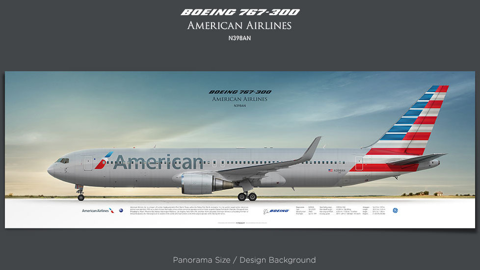 Boeing 767-300 American Airlines, plane prints, retired pilot gift, aviation posters, airliners prints, civil aircraft