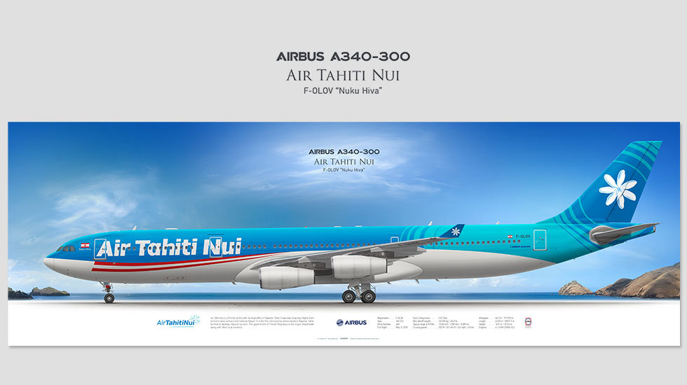 Airbus A340-300 Air Tahiti Nui, posterjetavia, airliners profile prints, aviation collectibles prints