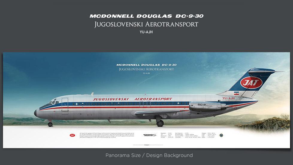 DC-9-30 Jugoslovenski Aerotransport, plane prints, retired pilot gift, aviation posters for sale, vintage aircraft prints