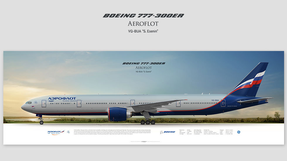 Boeing 777-300ER Aeroflot, gift for pilots, aviation art prints, aircraft print, custom posters, plane picture
