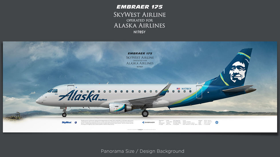 Embraer 175 SkyWest Airlines, Alaska Airlines, plane prints, retired pilot gift, aviation posters, airliners prints, regional