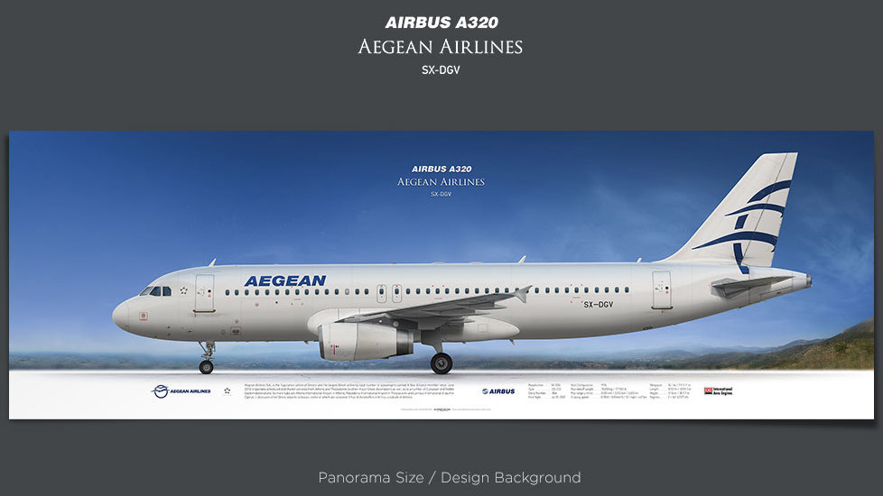 Airbus A320 Aegean Airlines, plane prints, retired pilot gift, aviation posters, airliners prints, civil aircraft, AEE