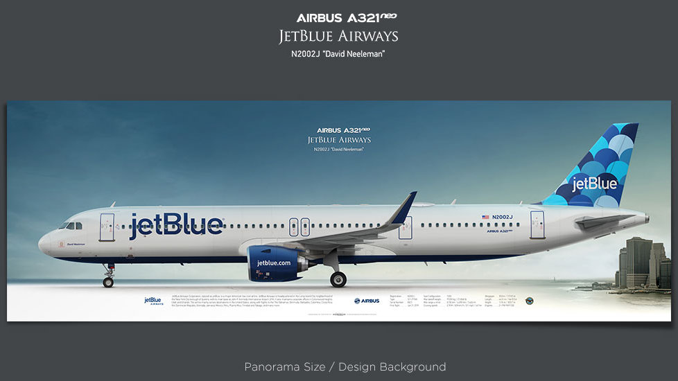Airbus A321neo JetBlue Airways, plane prints, retired pilot gift, aviation posters, airliners prints, JBU, civil aircraft