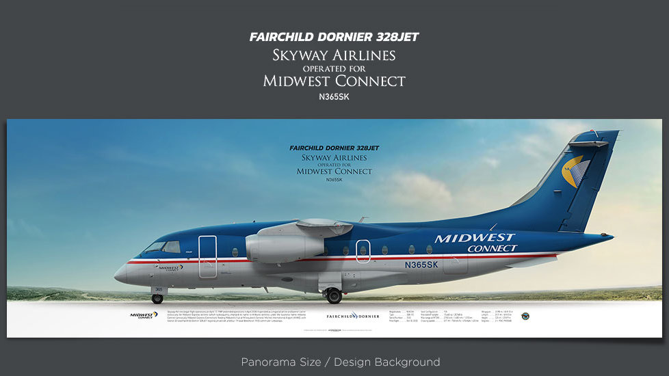 Fairchild Dornier 328Jet Skyway Airlines, Midwest Connect, plane prints, retired pilot gift, aviation posters for sale