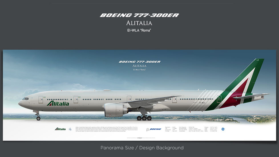 Boeing 777-300ER Alitalia, gifts for pilots, aviation poster, airplane prints, custom posters, retired pilot poster, AZA
