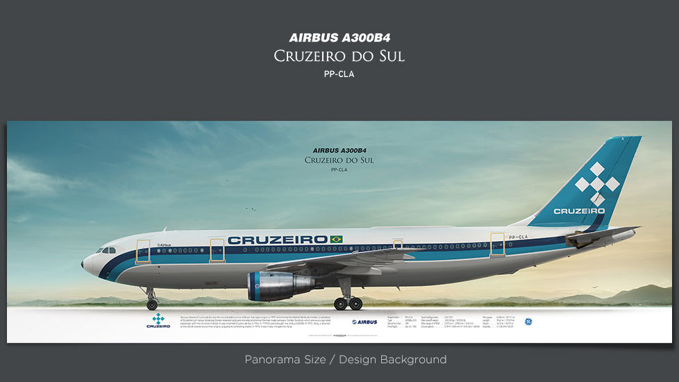 Airbus A300B4 Cruzeiro do Sul, plane prints, retired pilot gift, aviation posters for sale, vintage aircraft prints