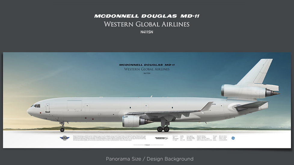McDonnell Douglas MD-11 Western Global Airlines, plane prints, retired pilot gift, aviation posters, airliners prints, WGN