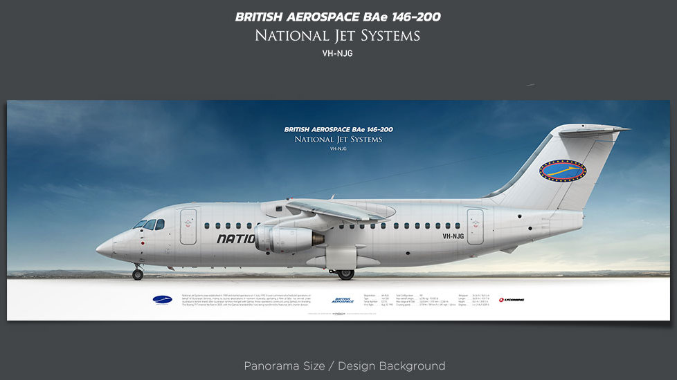 British Aerospace BAe 146-200 National Jet Systems, plane prints, retired pilot gift, aviation posters, airliners prints