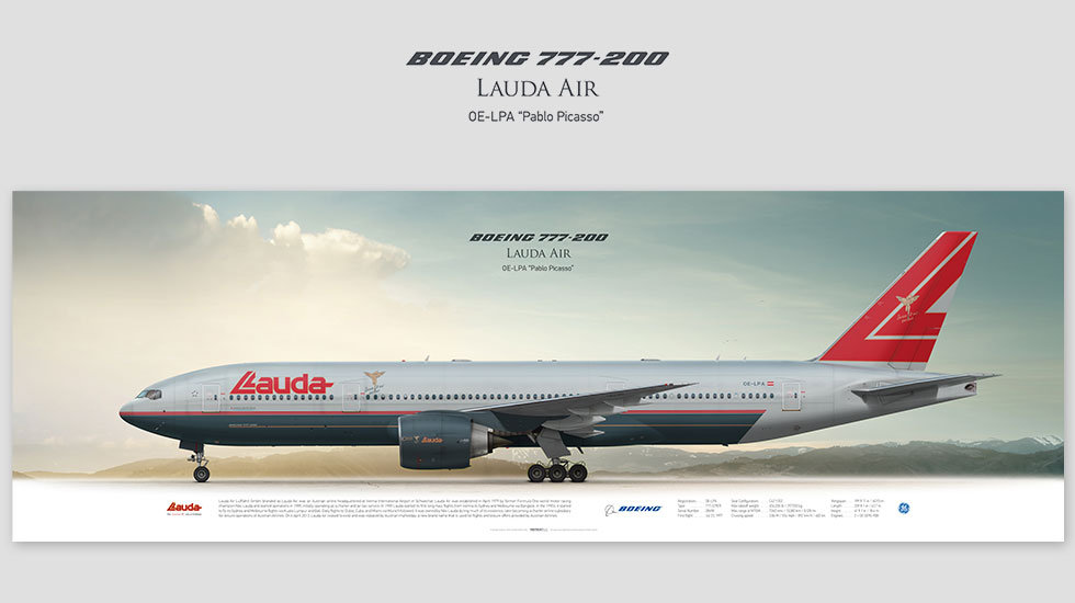 Boeing 777-200 Lauda Air, posterjetavia, gifts for pilots, aviation, airliner, pilotlife, aviationdaily, aviationart