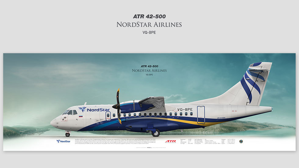 ATR 42-500 NordStar, posterjetavia, gifts for pilots, aviation, aviation art, avgeek, airplane pictures, Taimyr, TYA,