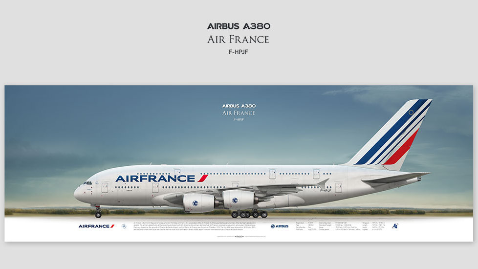 Airbus A380 Air France, gift for pilots, aviation prints, avia poster, aircraft profile art prints, aircraft picture