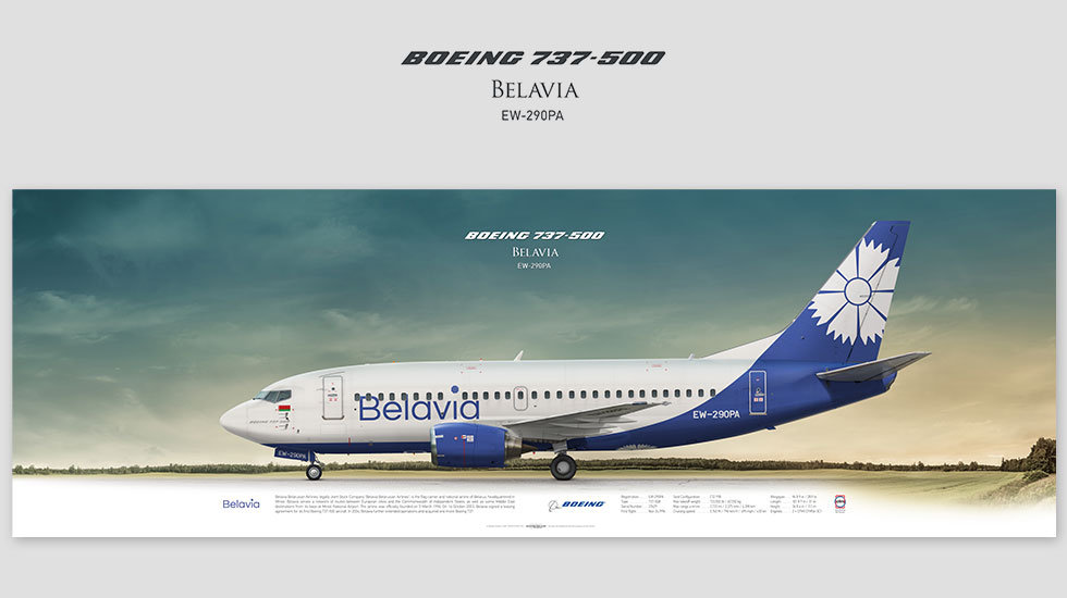 Boeing 737-500 Belavia, gift for pilots, aviation art prints, aircraft print, custom posters, plane picture