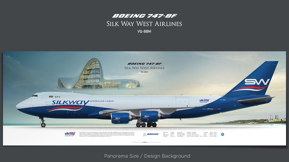 Boeing 747-8f Silk Way West Airlines, gifts for pilots, aviation prints, aircraft posters, custom posters, retired pilot