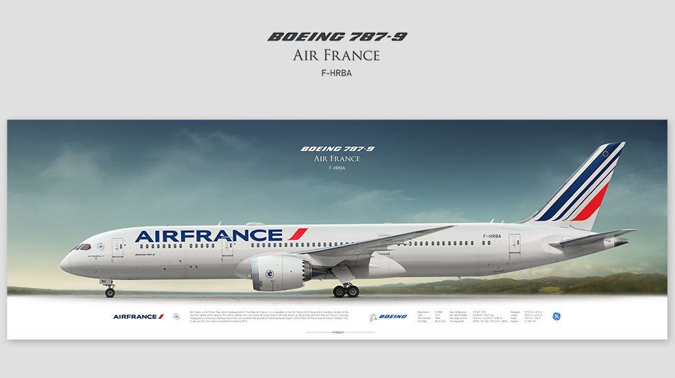 Boeing 787-9 Air France, gift for pilots, aviation prints, pilot wall decor, avia poster, aircraft profile prints